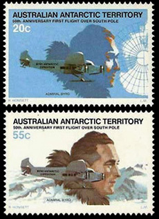 50th.Anniversary of First Flight over South Pole by American Richard Byrd,Australian Antarctic Division,Antartica,Antartic,AAT,FDC,FDC's,First Day Cover,First Day Cover,Stamp Collecting,Australian Antarctic Territory,Mawson,Davis,Heard Island,Macquarie Island,Australian Postal History,First Day Covers,Australian First Day Covers